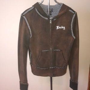 Lucky Brand Jacket Hoodie Brown Medium